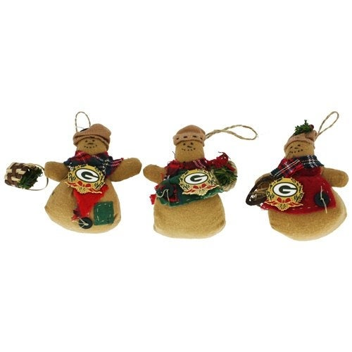 Green Bay Packers Snowman Ornament With Pin (One Random Ornament)