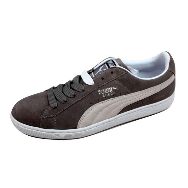 Puma Men's Suede 10 Elephant Skin Gray/White 351048 02 Size 10.5