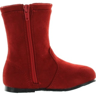 Little Angel Zoe-797 Toddler Girls Faux Suede Stiching Round Toe Boots