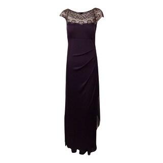 Xscape Women's Beaded Sequin Mesh Drape Dress - 6