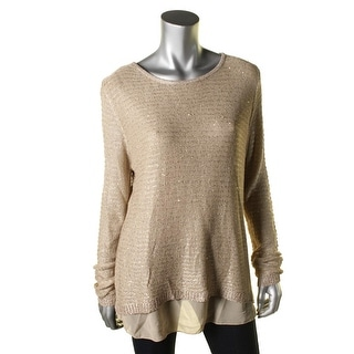 Sioni Womens Sequined 2Fer Pullover Sweater