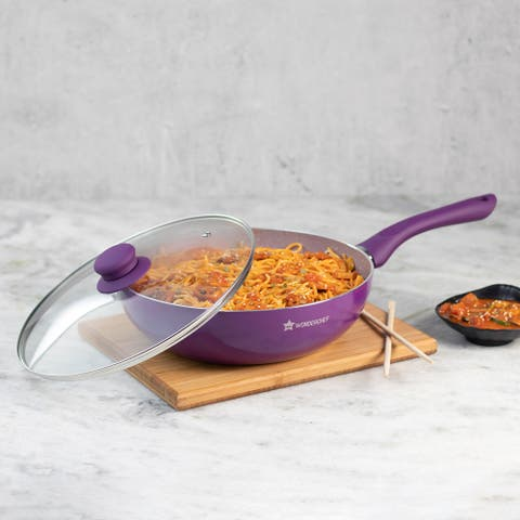 Wonderchef Non-Stick PFOA-Free Aluminum Indian Chinese Cuisine Stir Fry Wok with Lid, Purple