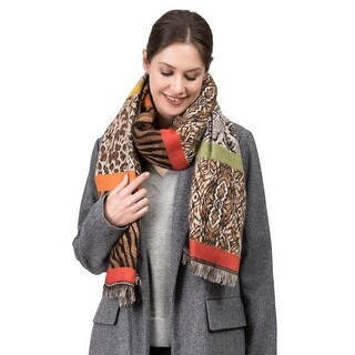 "Link to Glitzhome 77""L Double Jacquard Leopard Scarf with Tassels Similar Items in Scarves & Wraps"