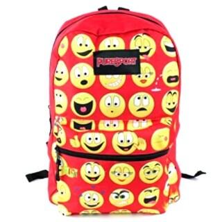 "PureSport Girls Red Emoji Print Zippered Padded Strap Backpack 15""x10.6""x5"""