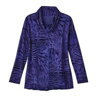 Women's Tunic Top - Enchanted Safari Purple Animal Print Slub Knit Cowl (2 options available)