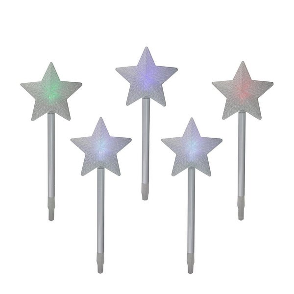 Set of 5 Color Changing LED Star Outdoor Pathway Marker Lawn Stakes - White Wire