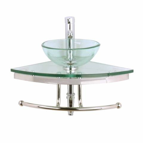 Renovator's Supply Clear Green Tint Glass Wall Mount Corner Bathroom Sink