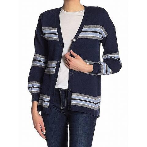 Democracy Blue Women's Size XS Striped V-Neck Cardigan Sweater