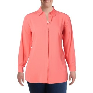 Vince Camuto Womens Plus Blouse Pleated Button-Down