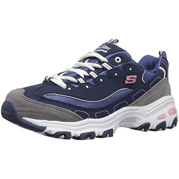 94b3ce5ce7ff0 Skechers Sport Women's D'lites - Me Time - Memory Foam Lace-Up  Sneaker,Navy/Grey/White,10 M Us
