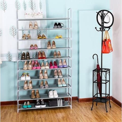 10 Tiers Non-woven Fabric Shoe Rack with Handle(39'')