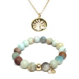 "Julieta Jewelry Set 10mm Green Amazonite Emma 7"" Stretch Bracelet & 12mm Tree Of Life Charm 16"" 14k Over .925 SS Necklace"