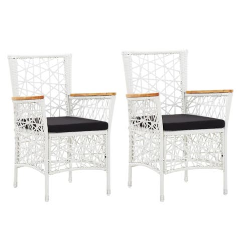 vidaXL Outdoor Chairs 2 pcs with Cushions Poly Rattan White