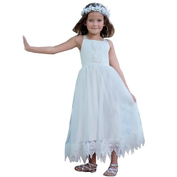 Think Pink Bows Baby Girls White Halter Lace Francesca Flower Girl Dress 1Y