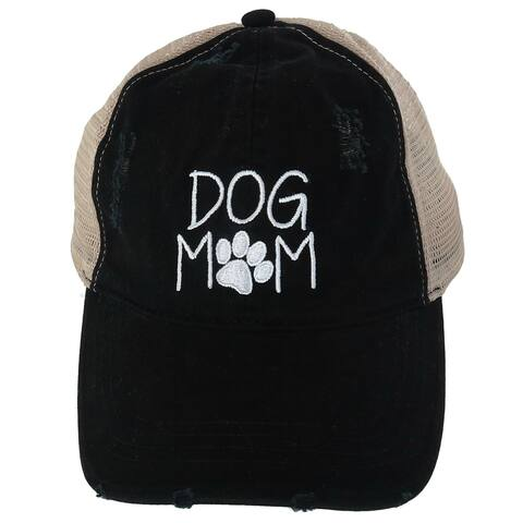 David & Young Women's Dog Mom Distressed Ponytail Baseball Cap