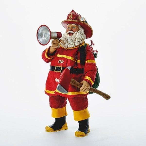"11"" Fabriche ""Fire Fightin' Nick"" Fireman Santa Claus Christmas Table Top Figure"