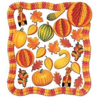 28-Piece Squash, Pumpkin, Leaf and Tissue Garland Fall Decoration Kit