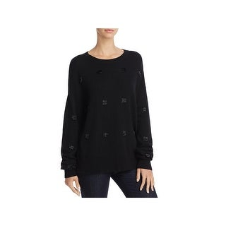 Elizabeth and James Womens Fionn Crewneck Sweater Embellished Pullover