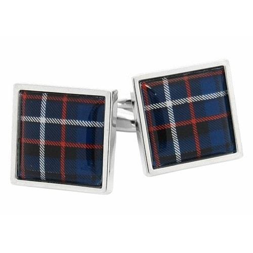 Tartan Square Red Blue Cufflinks