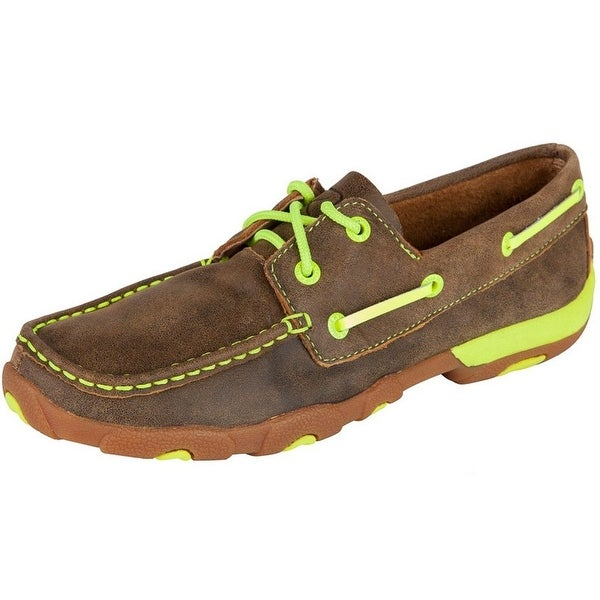 Twisted X Casual Shoes Womens Leather Driving Moc Brown Yellow
