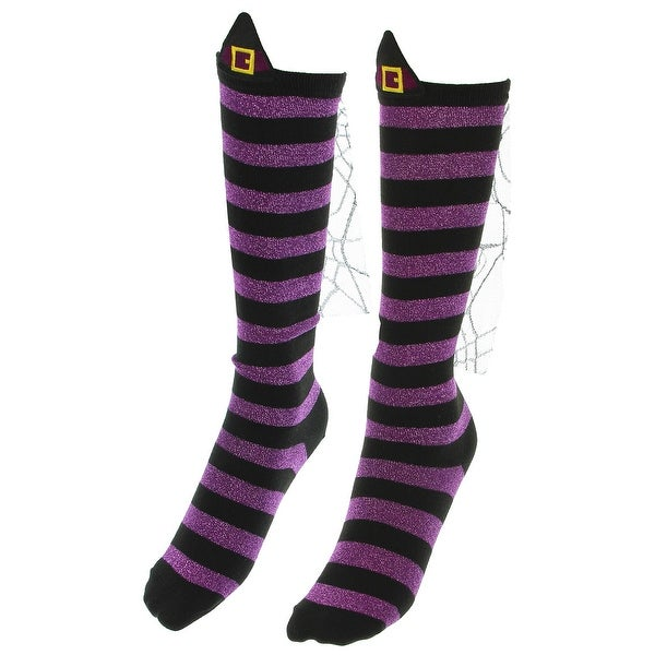 3dfaf22a8 Shop Wicked Witch Socks Womens Knee High Striped Purple and Black Halloween  Costume - Free Shipping On Orders Over  45 - Overstock - 23510343
