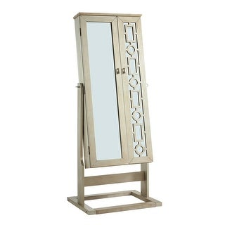 Link to Wooden Jewelry Armoire with Mirror Fronts and Felt Lined Interior, Gold Similar Items in Bedroom Furniture