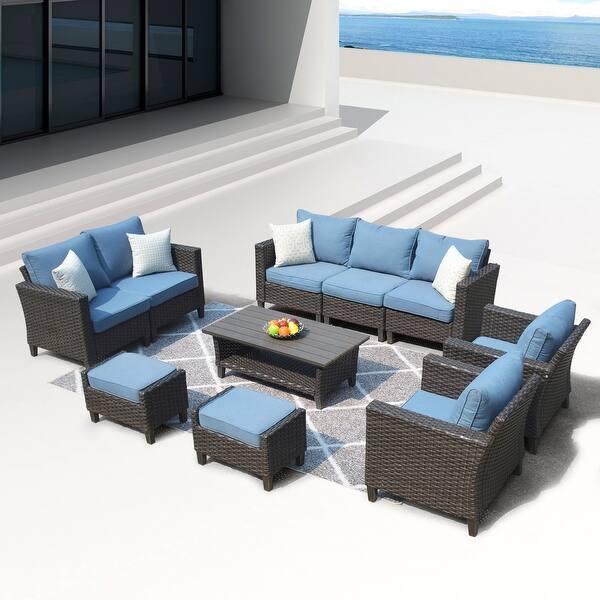 Outdoor Patio Couch Set, Shop Ovios Patio Furniture Outdoor High Back Wicker Patio Furniture Set Overstock 29072166