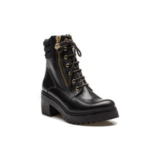 MONCLER Viviane Women's Leather Zip Lace Up Boot All Weather Black
