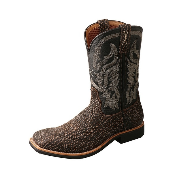 Twisted X Western Boots Mens Top Hand Red Buckle Square Brown
