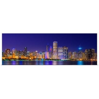 """""""Chicago skyline with Cubs World Series lights night, Chicago, Illinois"""" Poster Print"""