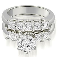 1.50 cttw. 14K White Gold Princess and Round Cut Diamond Engagement Bridal Set