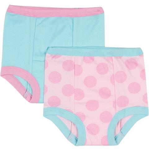 2-Pack Girls Pink Dot Training Pants