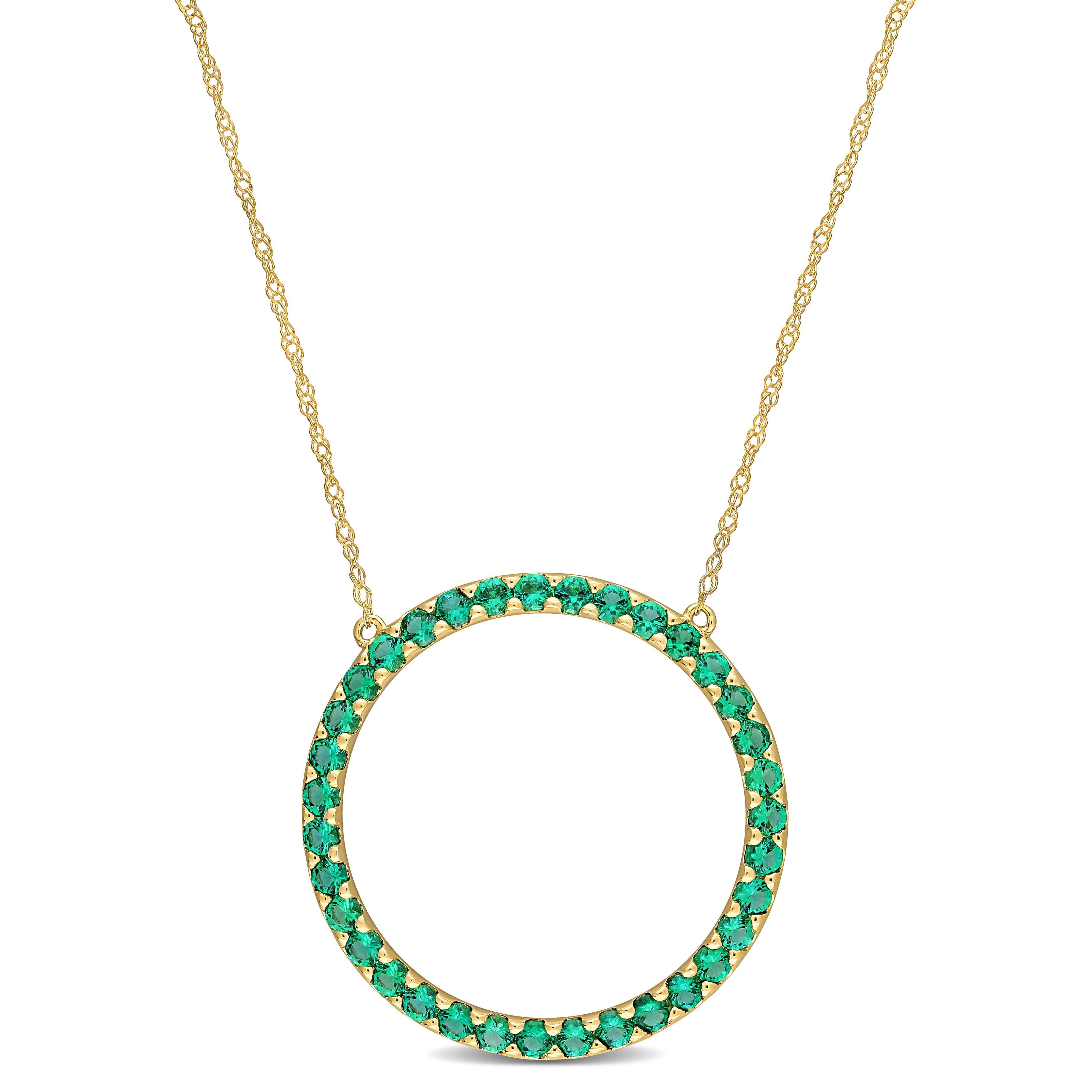 Created Emerald /& White Sapphire Elephant Floater Pendant