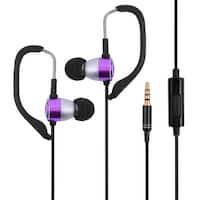 Telephone 3.5mm Plug Over-the-ear Style In-ear Earbud Headset Earphone Purple