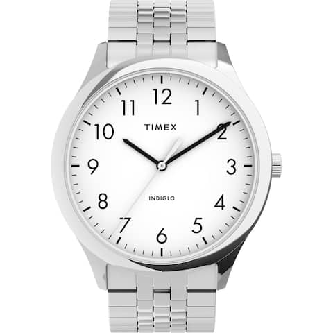 Timex Men's Modern Easy Reader 40mm Watch - Silver-Tone Case White Dial with Expansion Band - One Size - One Size