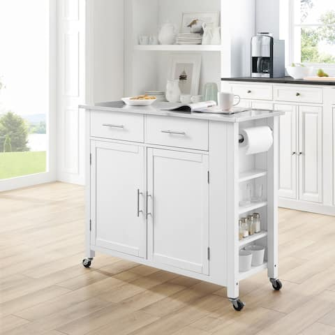 "Savannah Stainless Steel Top Full-Size Kitchen Island/Cart - 37""H x 42""W x 18.25""D"