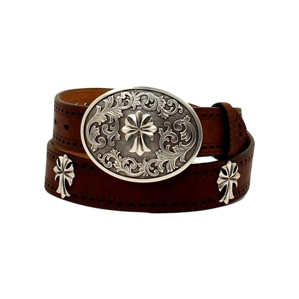 Ariat Western Belt Womens Perforated Edge Antique Cross