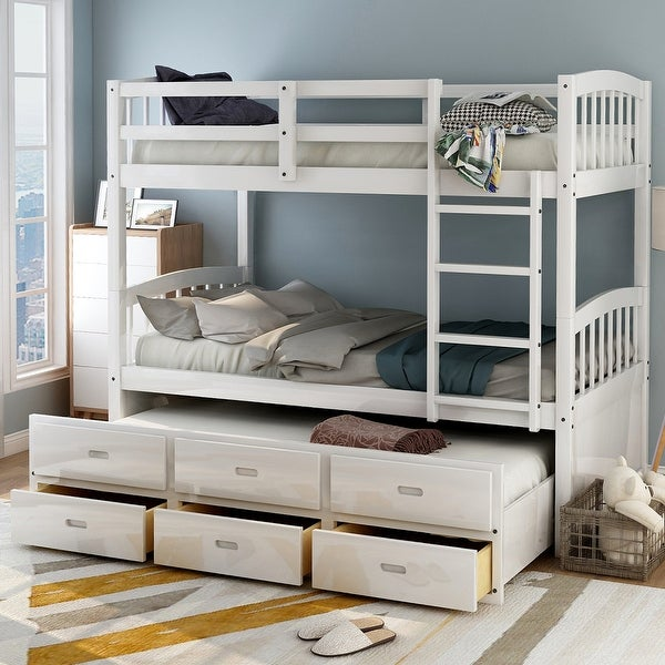 Taylor & Olive Freesia Twin-over-Twin Bunk Bed with 3-drawer Trundle. Opens flyout.