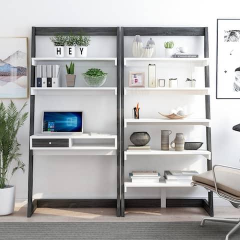 Furniture of America Liri Contemporary 2-piece Desk With Bookcase Set