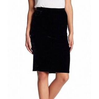 Bobeau Black Women's Medium PM Petite Velvet Straight Pencil Skirt
