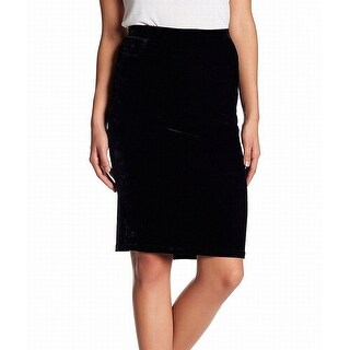 Bobeau Black Women Size Large PL Petite Velvet Straight Pencil Skirt