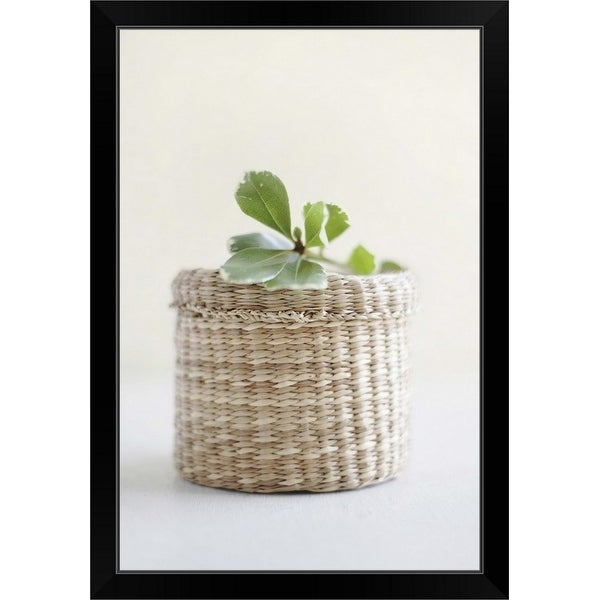 """Small basket with a leaf on the top"" Black Framed Print"