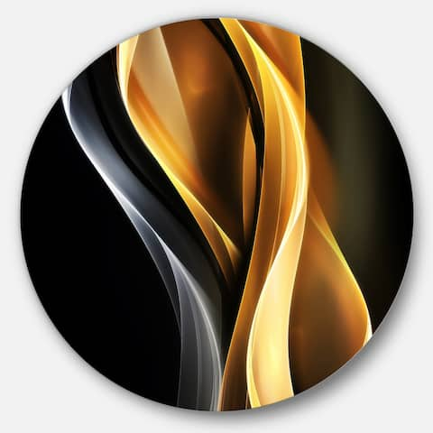 Designart 'Brown White Light Art' Abstract Digital Art Large Disc Metal Wall art