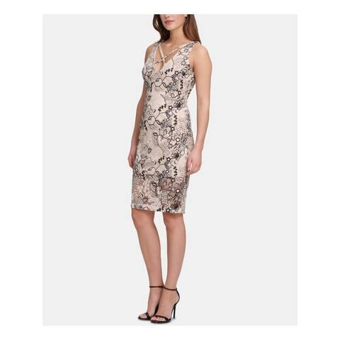MARCIANO Beige Sleeveless Knee Length Dress 6