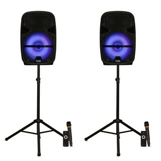 """Acoustic Audio PRTY122 Battery Powered 12"""" Bluetooth LED Speakers Mics & Stands"""