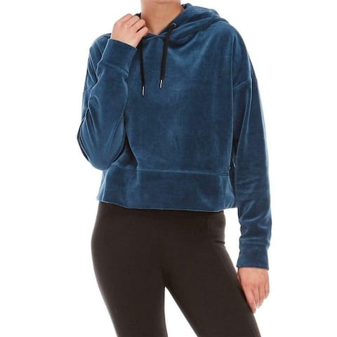 Calvin Klein Women's Performance Velour Cropped Sweatshirt Eclipse Size Medium - Blue