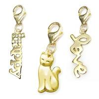 Julieta Jewelry Cat, Happy, Love 14k Gold Over Sterling Silver Clip-On Charm Set