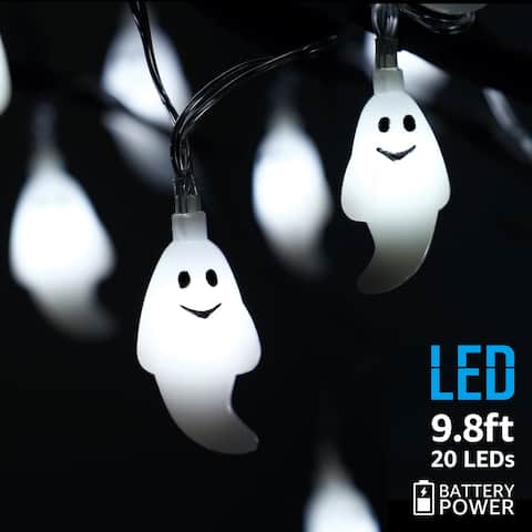 Halloween Copper Wire String Lights, Ghost Pendants, White, 8 Modes