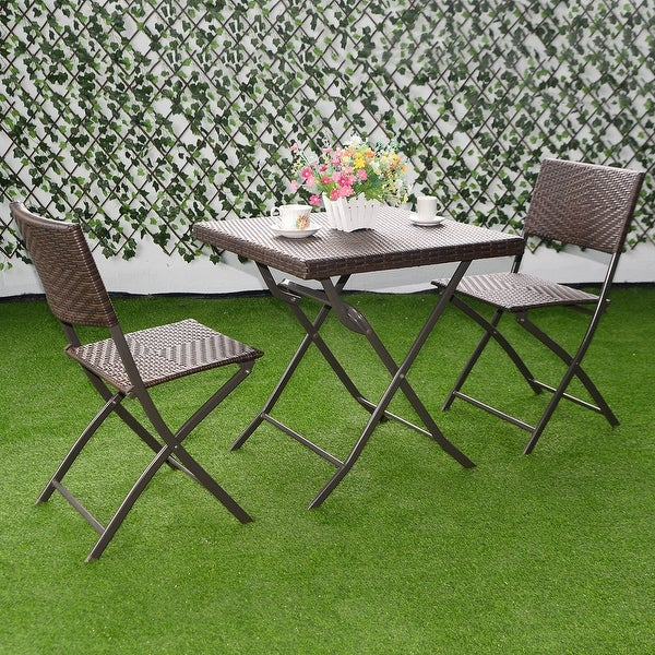 Shop Costway 3 PC Outdoor Folding Table Chair Furniture Set Rattan ...
