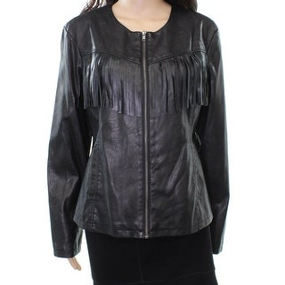 Live a Little NEW Black Womens Size Large L Fringed Faux-Leather Jacket